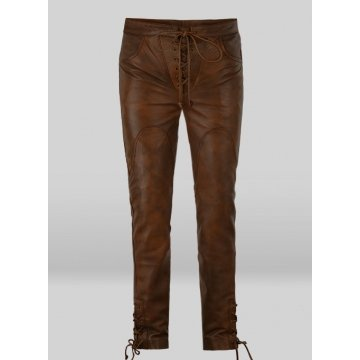 Vintage Style Cowboy Lace up Brown Leather Pants for Male