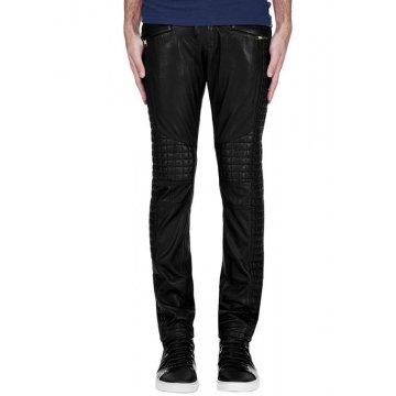 Waist Belted Black Leather Biker Pants for Men