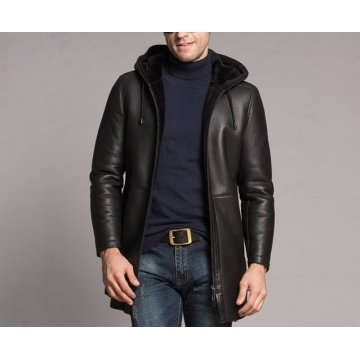 Winter Luxury Genuine Black Leather Fur Coat For Men