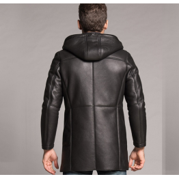 Winter Luxury Genuine Black Leather Fur Coat For Men