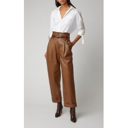 Women High Rise Paper Bag Style Real Brown Leather Pants
