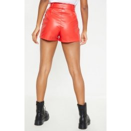 Womens Hot Fashion Genuine Red Leather Biker Short