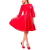 Women Neck Fit Flare Bud Red Leather Mini Casual Dress
