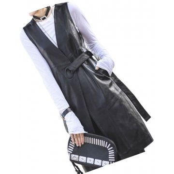Womens Belted Sleeveless Real Lambskin Black Long Leather Trench Coat