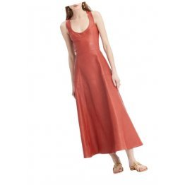 Womens Bold A-line Sleeveless Genuine Red Leather Long Dress