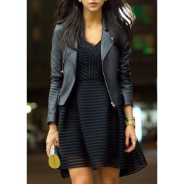 Womens Casual High Quality Navy Blue Leather Jacket Outfit
