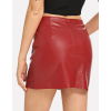 Womens Casual High Waist Zip Detail Red Leather Skirt