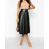 Womens Circle Style Buckle Midi Skater Black Leather Skirt