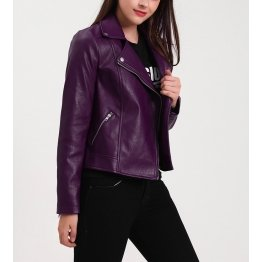 Womens Classic Notched Collar Long Sleeve Purple Leather Biker Jacket