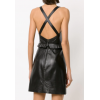 Womens Cut Out Detail Short Length Black Leather Dress