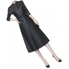 Womens Cute Fashion Real Lambskin Black Long Leather Trench Coat