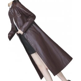 Womens Cute Fashion Real Lambskin Brown Long Leather Trench Coat