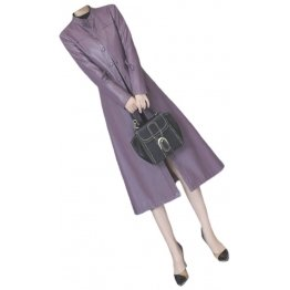 Womens Cute Fashion Real Lambskin Purple Long Leather Trench Coat
