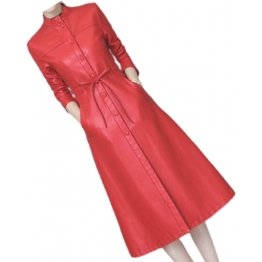 Womens Cute Fashion Real Lambskin Red Long Leather Trench Coat