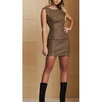 Womens Designer Pure Brown Leather Dress Outfit