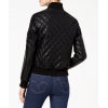 Womens Diamond Quilted Baseball collar Black Leather Bomber Jacket