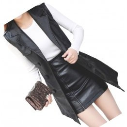 Womens Double Breasted Sleeveless Real Lambskin Black Long Leather Trench Coat