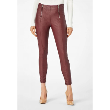 Womens Dual Front Zipper Burgundy Leather Pant