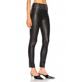 Womens Elastic Waistband Stretch Fit Black Leather Capris