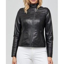 Womens Elegant Style Genuine Black Leather Jacket