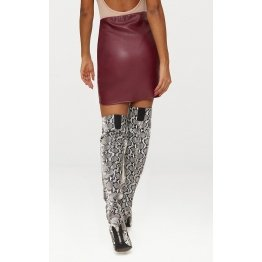 Womens Fashion Asymmetric Panel Maroon Leather Mini Skirt
