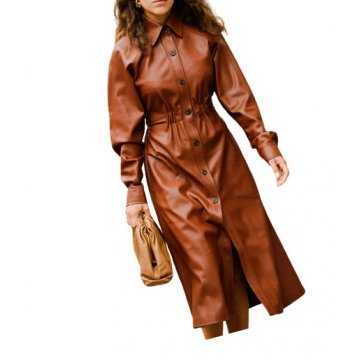 Womens Fashion Button Closure Genuine Brown Leather Long Dress