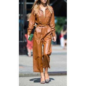Womens Fashion Loose Fit Real Brown Leather jumpsuit Overall