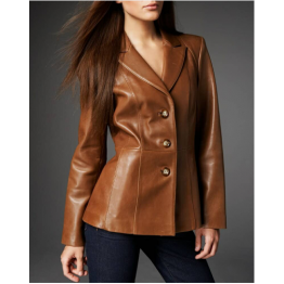 Womens Fashion Three Button Premium Brown Leather Blazer