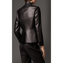 Womens Formal Slim Fit Genuine Black Leather Blazer Jacket