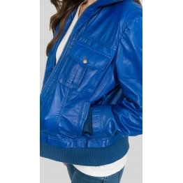 Womens Four Pockets Genuine Blue Leather Bomber Jacket