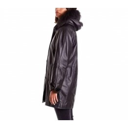 Womens Genuine Soft Black Leather Hooded Coat with Fur
