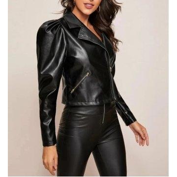 Womens Glamorous Sleeve Zip Front Genuine Black Leather Jacket