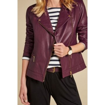Womens Gold Hardware Detailing Butter Soft Leather Biker Jacket