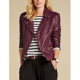 Womens Gold Hardware Detailing Soft Leather Biker Jacket