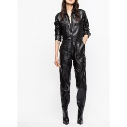 Womens Halloween Fashion Genuine Black Leather Catsuit Jumpsuit