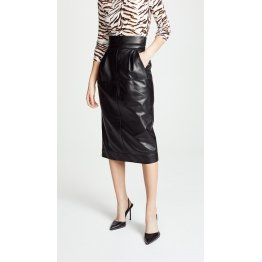 Womens High Waisted Pure Black Leather Midi Length Skirt
