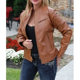 Womens Lightweight Genuine Brown Lambskin Leather Jacket