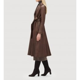 Womens Luxurious Lambskin Brown Leather Long Trench Coat