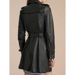 Womens Mid-Length Double Breasted Black Leather Coat