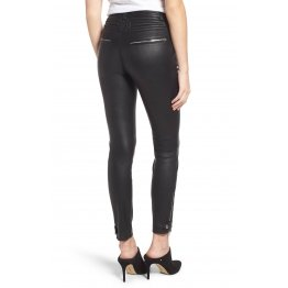 Womens Moto Zippers Sleek Black Leather Biker Pants