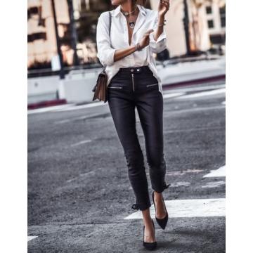 Womens Moto Zippers Sleek Black Leather Biker Pants