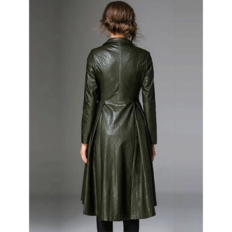 Womens Notched Collar Long Sleeve Dark Green Leather Trench Coat