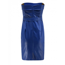 Womens Off Shoulder Blue Real Leather Party Midi Dress