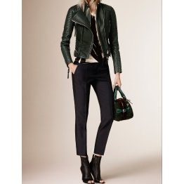 Womens Peplum Waist Lambskin Green Leather Biker Jacket