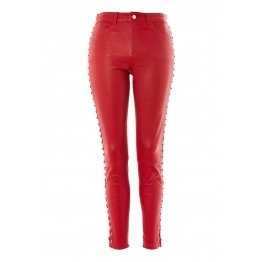 Womens Premium Luxurious Side Lace Up Red Leather Pants