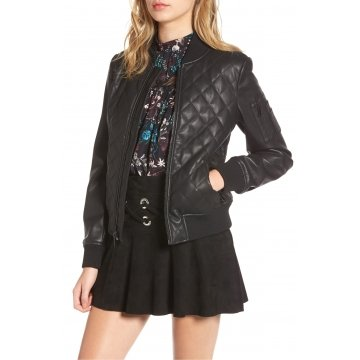 Womens Quilted Genuine Lambskin  Black Leather Bomber Jacket