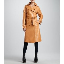Womens Relaxed Fit Double Breasted Real Brown Leather Trench Coat
