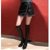 Womens Sexy High Waist Vintage Black Leather Short Skirt
