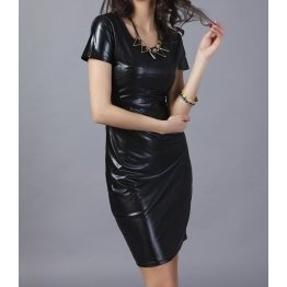 Womens Short Fashion Genuine Black Leather Party Dress