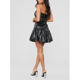 Womens Short Tube Style Black Leather Mini Dress